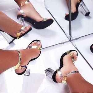Black & metallic strapped heels